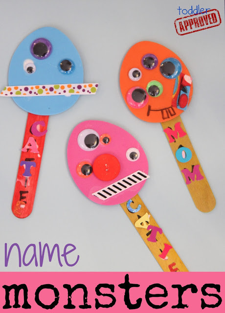 Name Crafts For Kids  Toddler Approved Name Monster Puppets