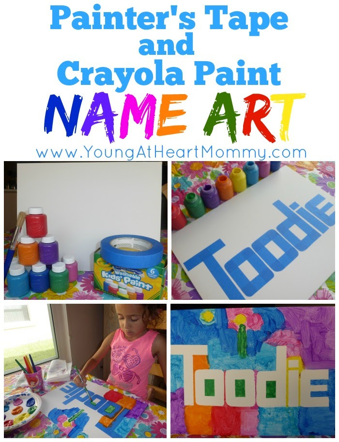 Name Crafts For Kids  Kid s Craft Painter s Tape Crayola Paint Name Art