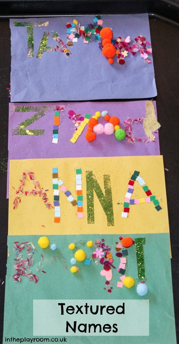Name Crafts For Kids  Textured Names Fun Name Recognition Craft In The Playroom