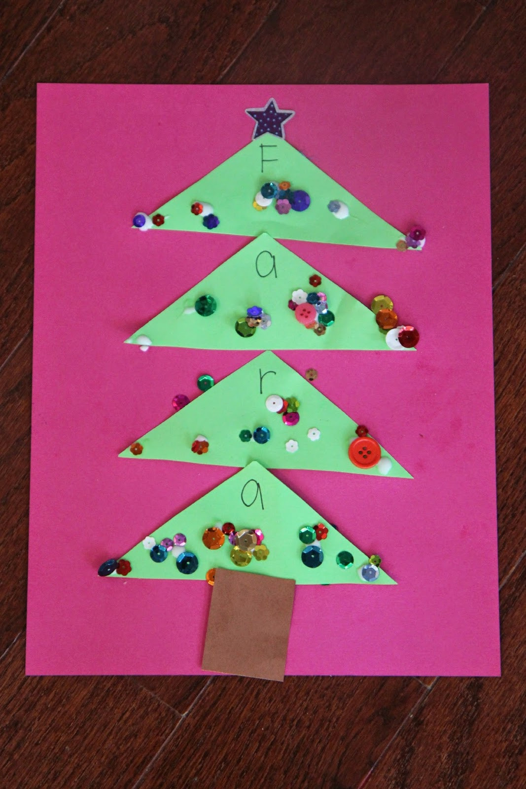 Name Crafts For Kids  Toddler Approved Sparkly Name Christmas Tree Craft for Kids