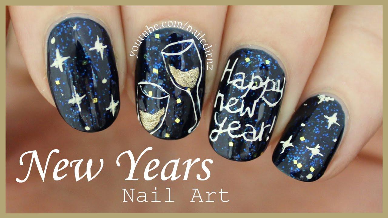 New Years Nail Designs 2020  HAPPY NEW YEAR Nail Art