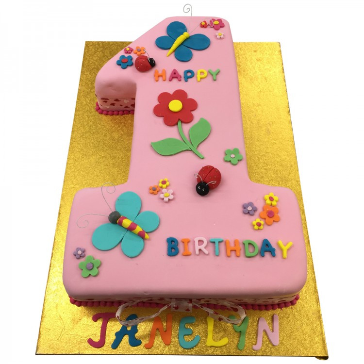 Number 1 Birthday Cake  Pink Number 1 Cake Girls Cakes