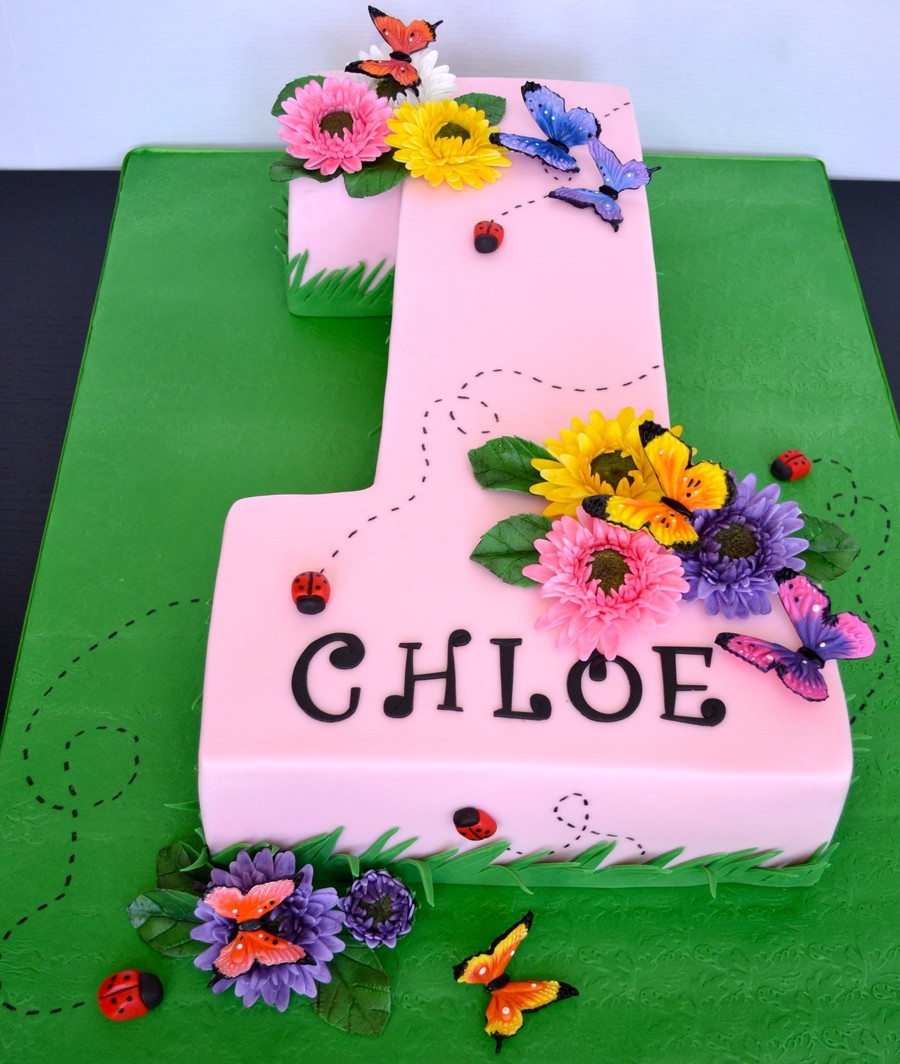 Number 1 Birthday Cake  Number e First Birthday Cake Gerber Daisies And