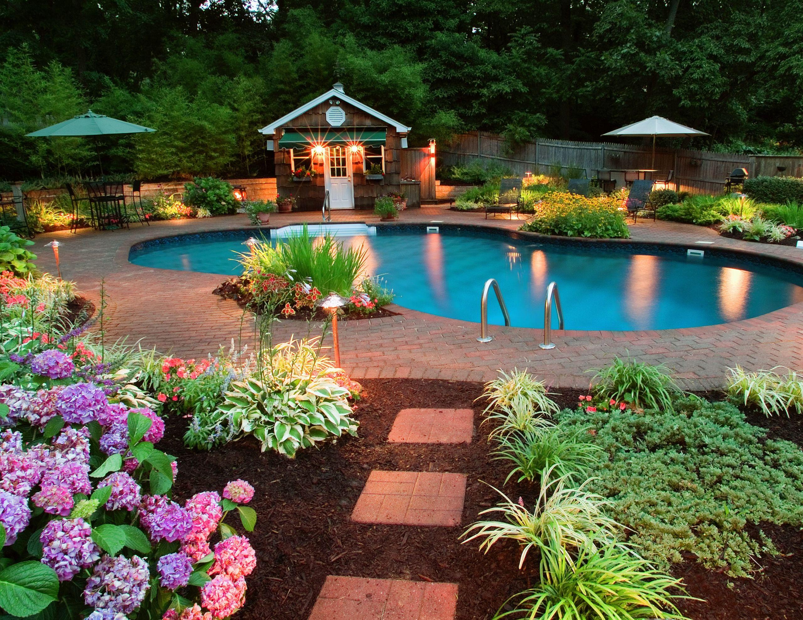 Outdoor Landscape Pool  Backyard Pool Landscaping Ideas