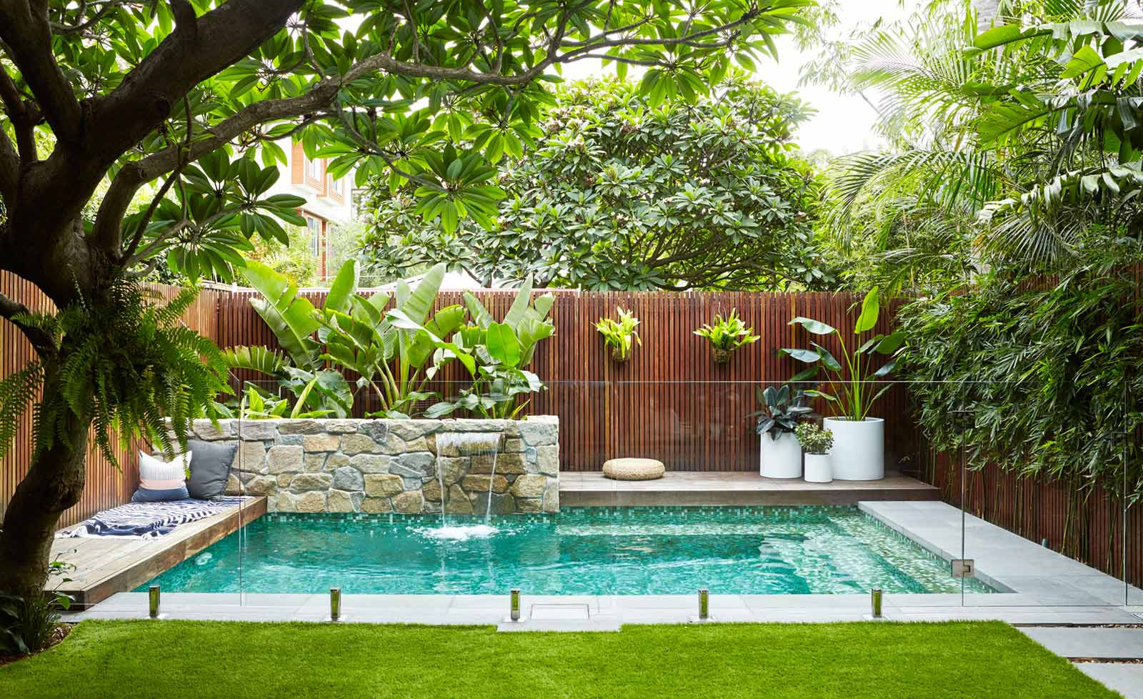 Outdoor Landscape Pool  Trees South Africa Landscapingwith trees around a