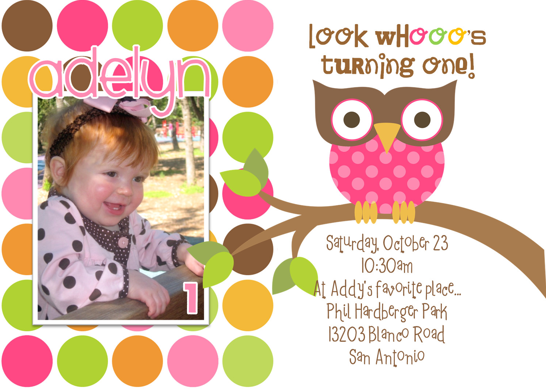 Owl 1st Birthday Invitations  Owl 1st Birthday Invitations Ideas – Bagvania