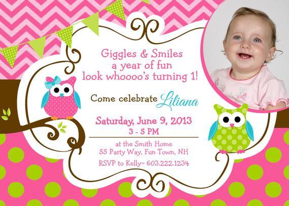 Owl 1st Birthday Invitations  Owl Birthday Invitation First Birthday Owl Party Invitation