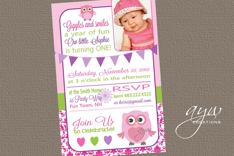 Owl 1st Birthday Invitations  Owl First Birthday Party Invitation by AsYouWishCreations4u