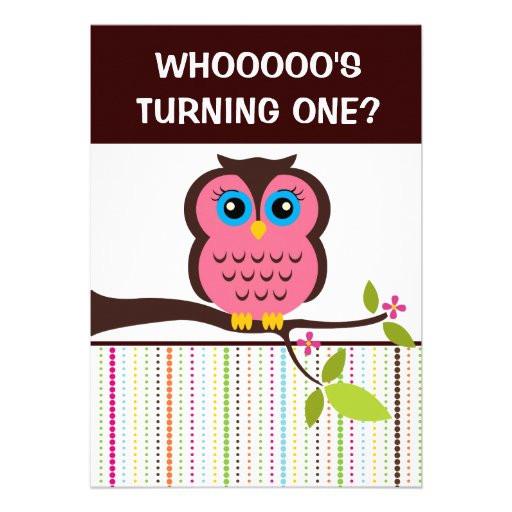 """Owl 1st Birthday Invitations  1st Birthday Owl Theme Party Invitations 5"""" X 7"""