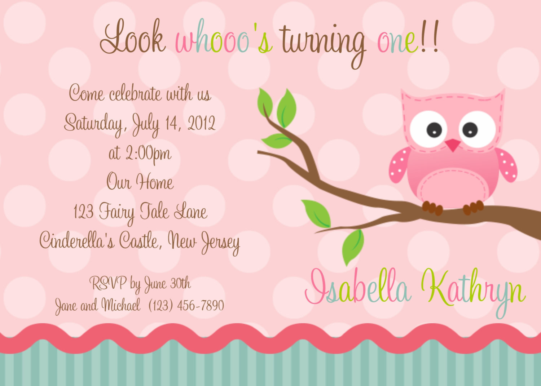Owl 1st Birthday Invitations  First Birthday Pink Owl Invitation Personalized Custom Owl