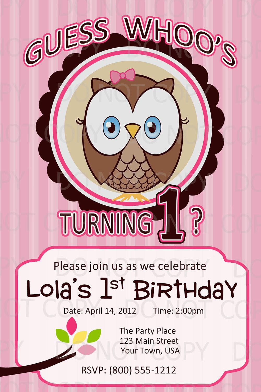 Owl 1st Birthday Invitations  Printable DIY Owl First Birthday Birthday Party Invitation