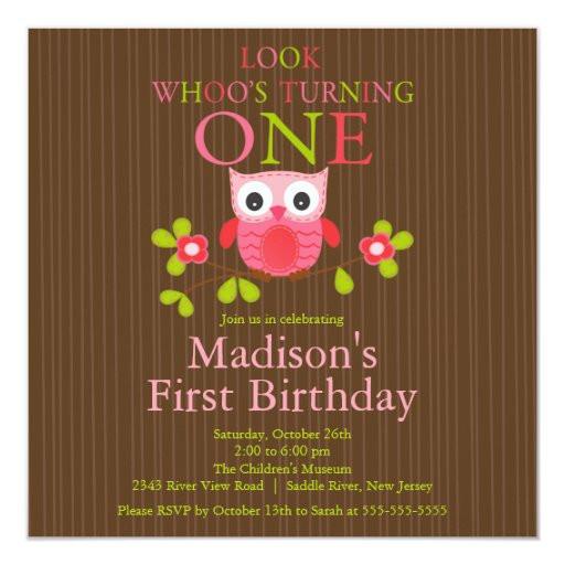 Owl 1st Birthday Invitations  Cute Modern Owl 1st Birthday Party Invitations