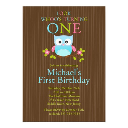 "Owl 1st Birthday Invitations  Cute Modern Owl 1st Birthday Party Invitations 5"" X 7"