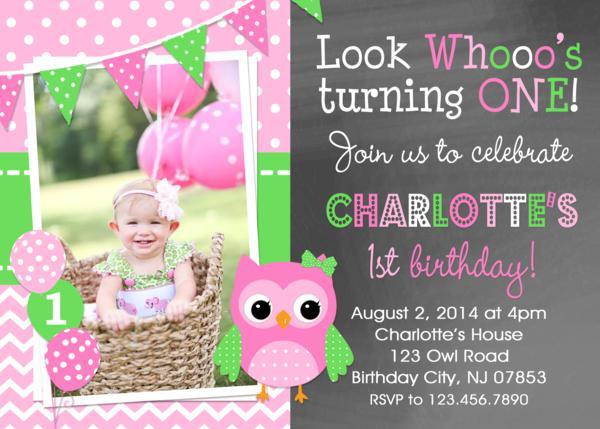 Owl 1st Birthday Invitations  Chevron Owl Birthday Invitation Girls Owl 1st Birthday