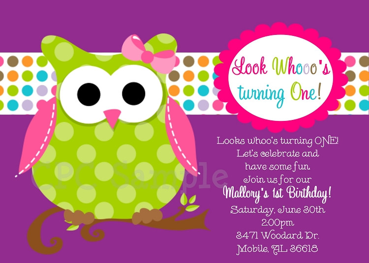Owl 1st Birthday Invitations  Owl 1st Birthday Invitation in Pink Green and Purple