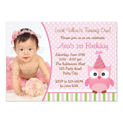 Owl 1st Birthday Invitations  Owl 1st Birthday Invitation with for Girls