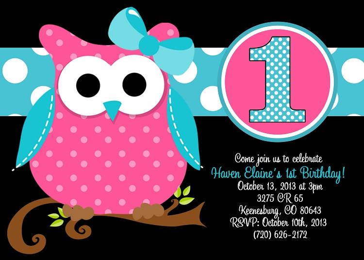 Owl 1st Birthday Invitations  Owl 1st Birthday Invitation with Printable or Printed
