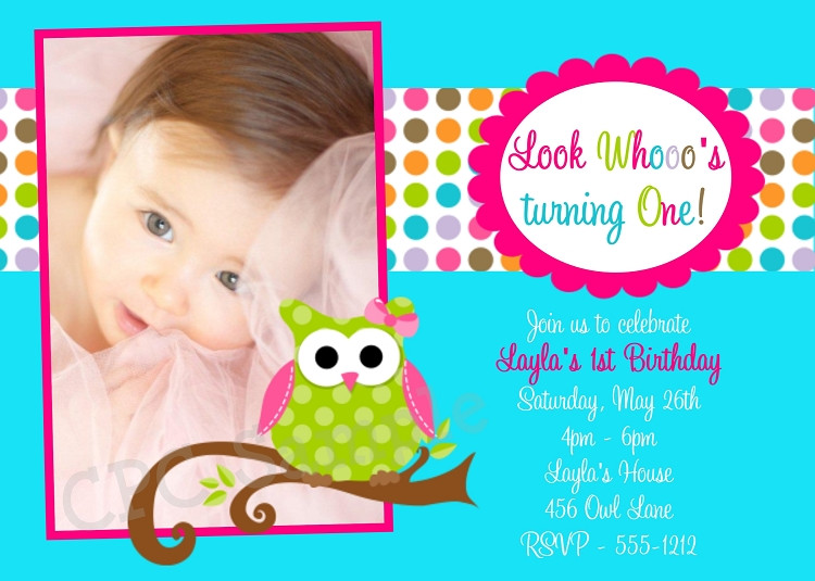 Owl 1st Birthday Invitations  Owl 1st Birthday Party Invitations in Turquoise Blue
