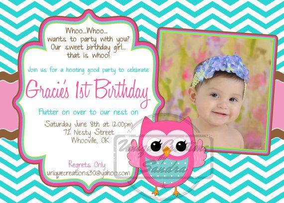 Owl 1st Birthday Invitations  Chevron Owl Birthday Invitation Baby Girl