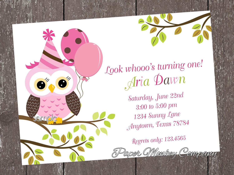 Owl 1st Birthday Invitations  Pink Owl Birthday Invitations 1 00 each with envelope
