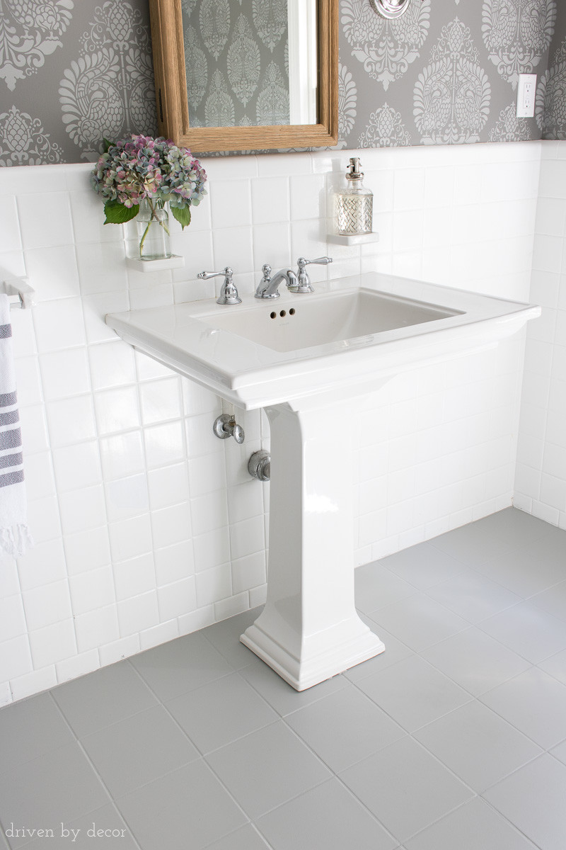 Paint To Use In Bathroom  How I Painted Our Bathroom s Ceramic Tile Floors A Simple