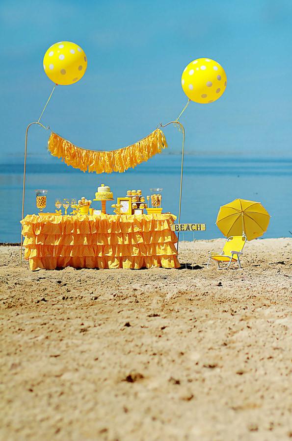 Party On The Beach Ideas  Kids Yellow Polka Dot Bikini Beach Party Evite