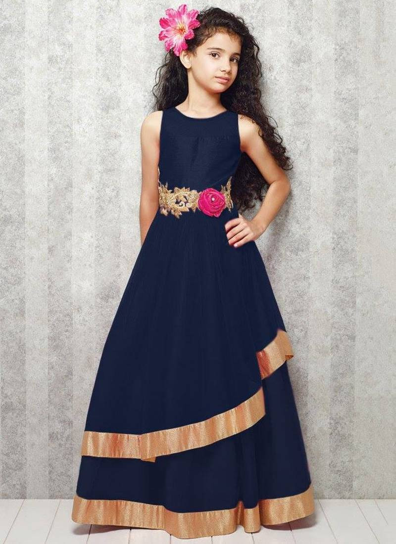 Party Wear For Kids  Buy blue satin designer embroidered partywear kids gown