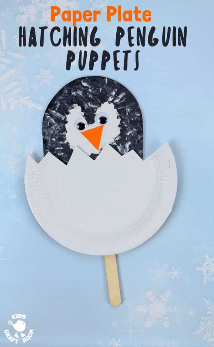 Penguin Craft For Preschoolers  Paper Plate Penguin Chick Puppets Kids Craft Room