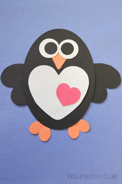 Penguin Craft For Preschoolers  Heart Penguin Craft for Kids