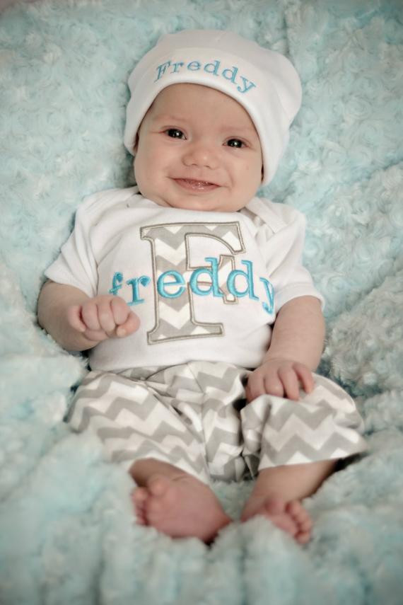Personalized Baby Boy Gifts  Personalized Baby Boy Gift Baby Boy Clothes Gray Turquoise