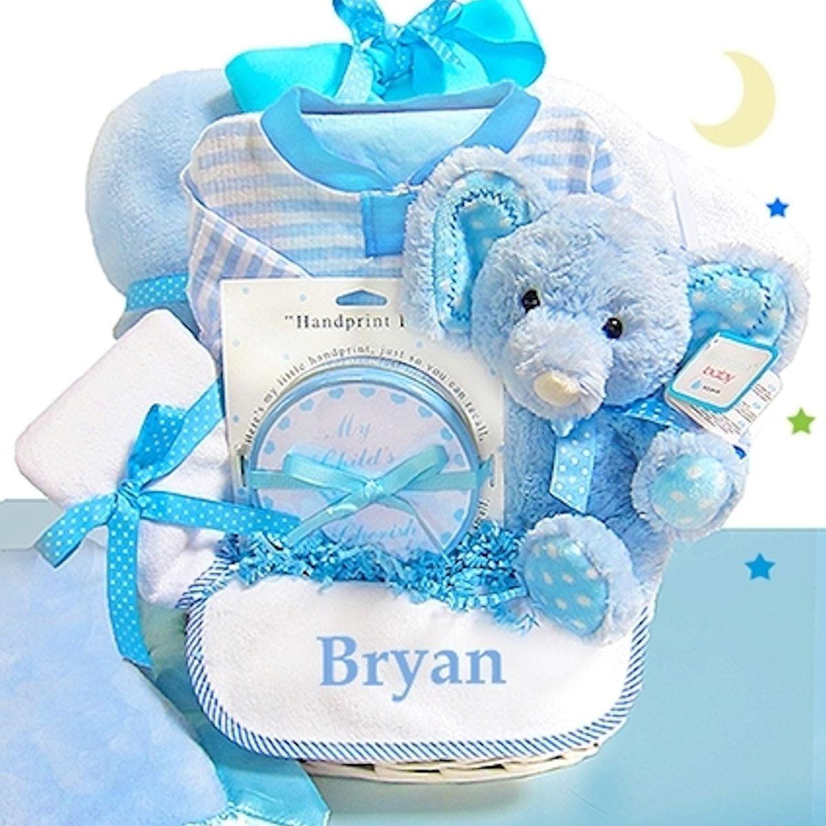 Personalized Baby Boy Gifts  Baby Boy Gift Basket Blue Elephant