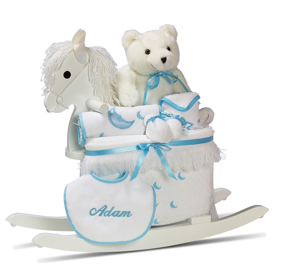 Personalized Baby Boy Gifts  Personalized Baby Boy Gift Rocking Horse & Layette by