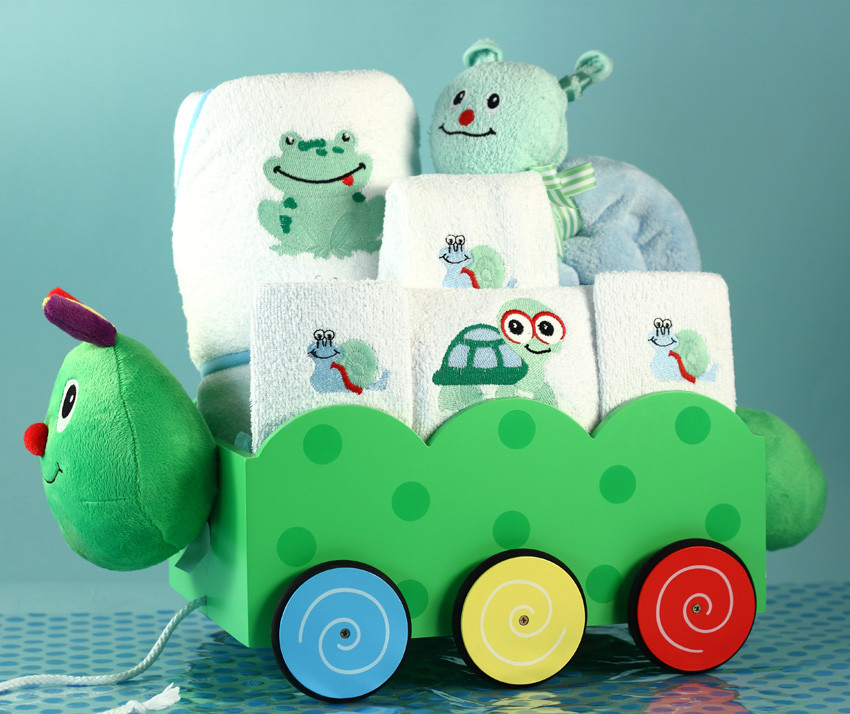 Personalized Baby Boy Gifts  Unique Baby Boy Gift Caterpillar Wagon Gift Set