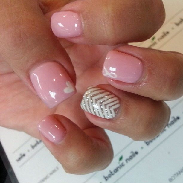 Pink Shellac Nail Designs  Loving the pink shellac with little hearts on