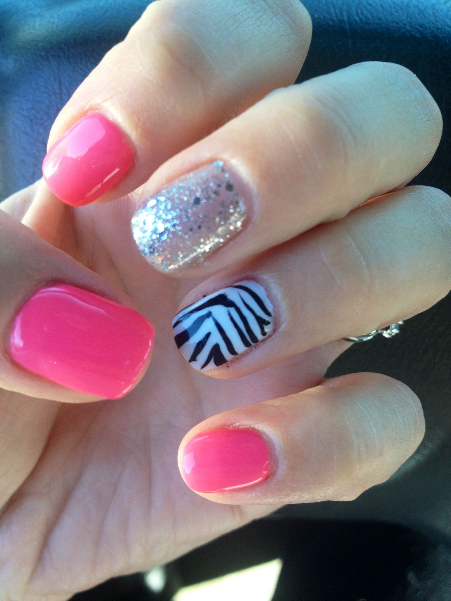Pink Shellac Nail Designs  Glitter pink shellac gelling cute nails zebra sparkle