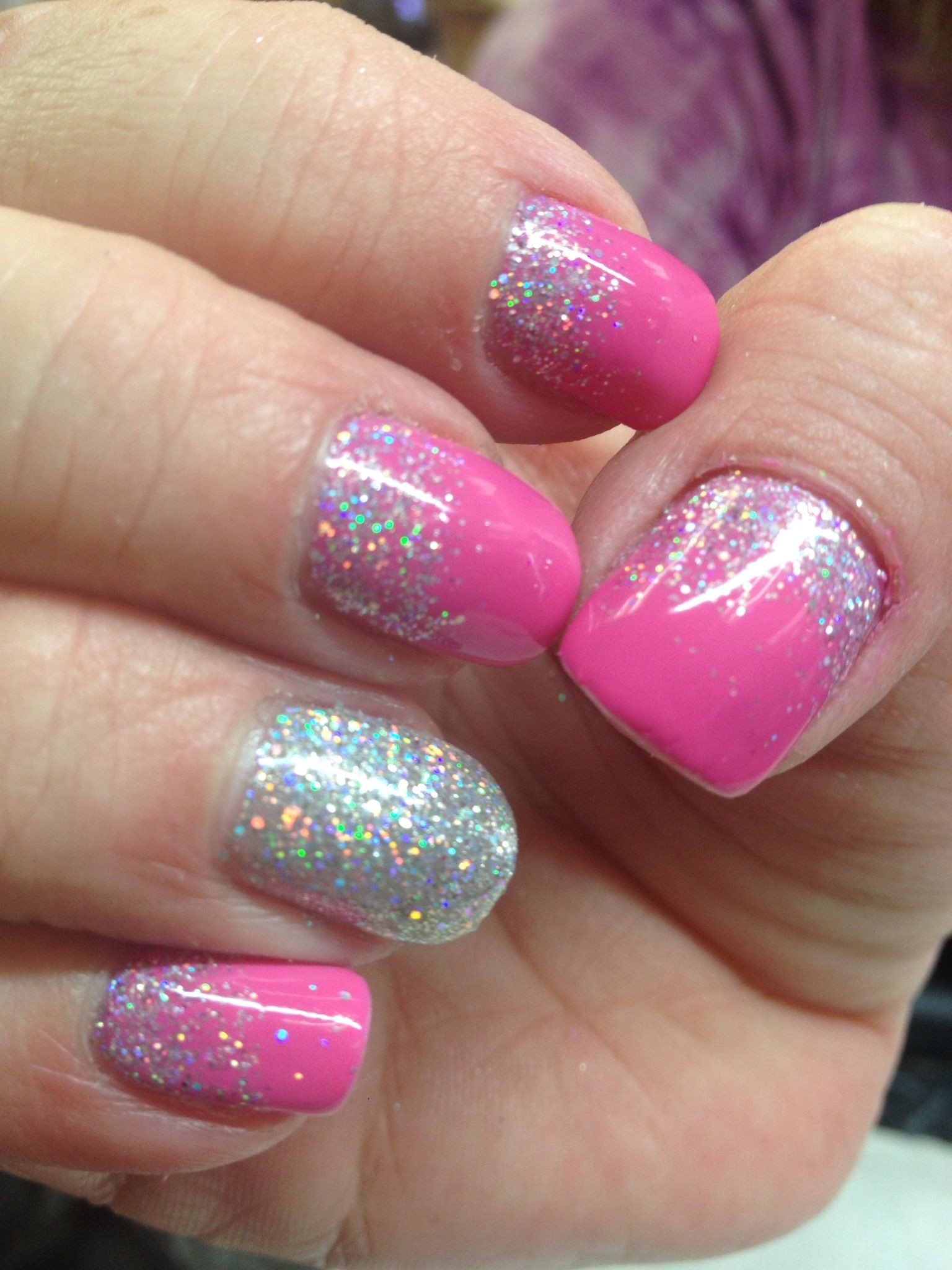 Pink Shellac Nail Designs  CND Shellac pink glitter reverse French