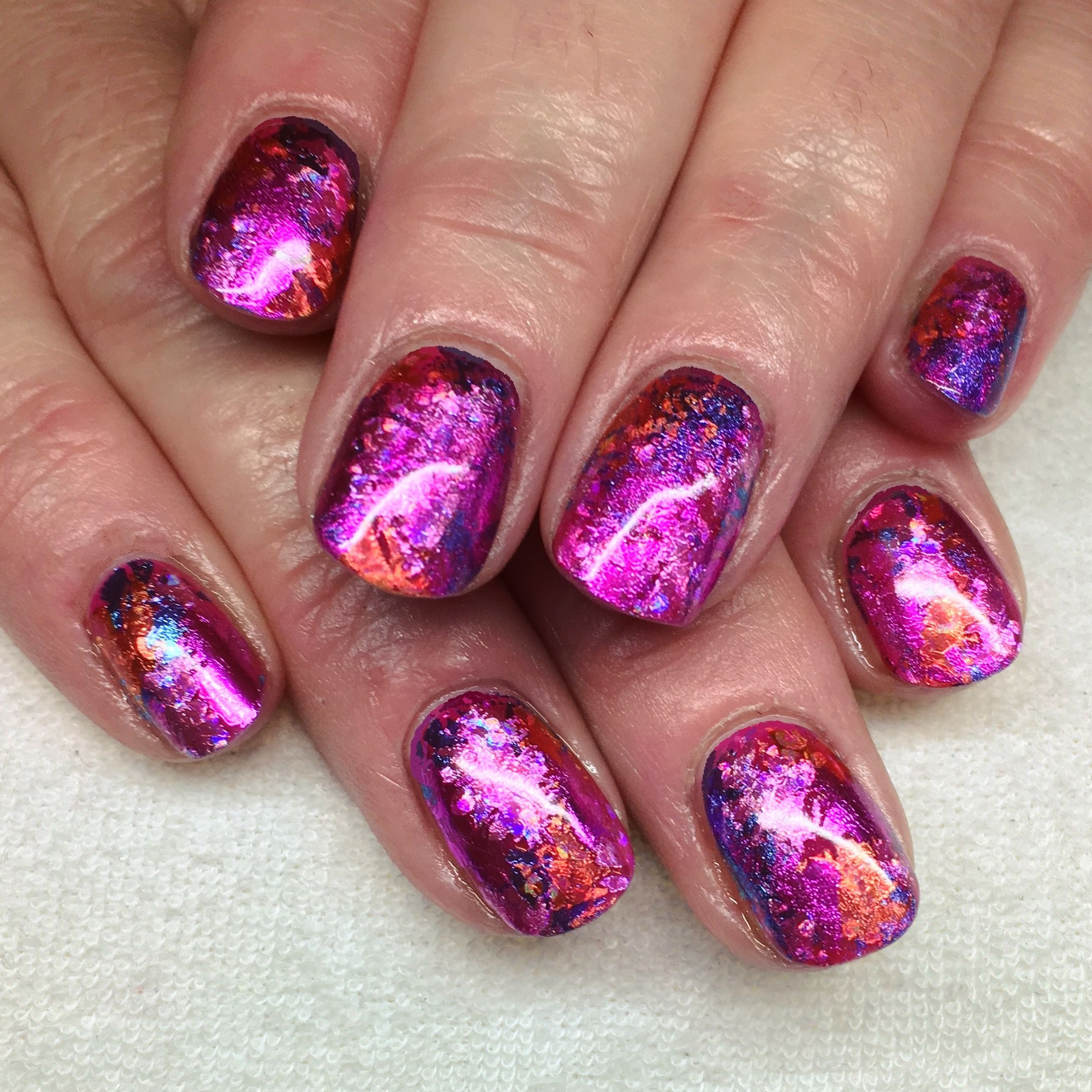 Pink Shellac Nail Designs  CND Shellac Pink Leggings with a Lecente Foil Sandwich in