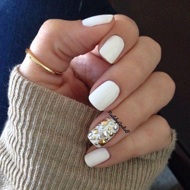 Pretty White Nails  pretty white nails w cute thumb ring Nails ♡