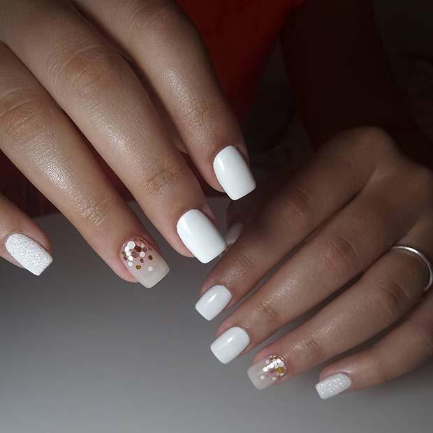 Pretty White Nails  43 Pretty Wedding Nail Ideas for Brides to Be