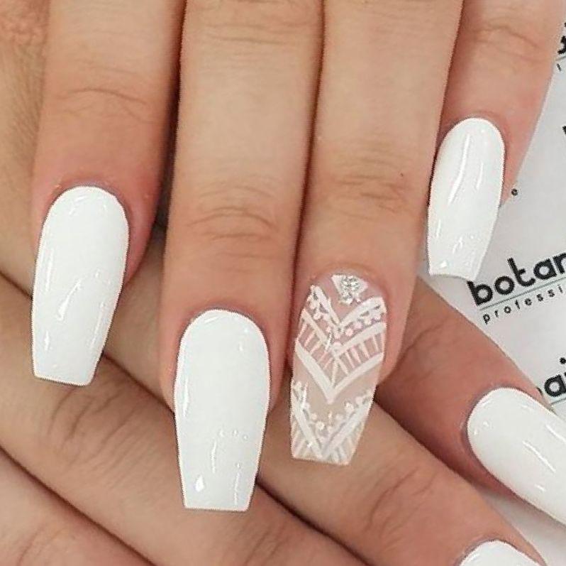 Pretty White Nails  40 White Acrylic Nail Designs Nails Pix