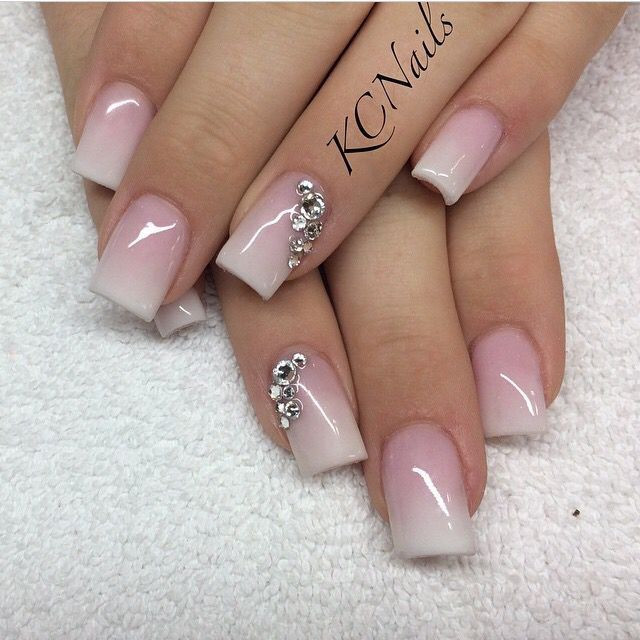 Pretty White Nails  Beautiful pink to white fade acrylic nails Love the