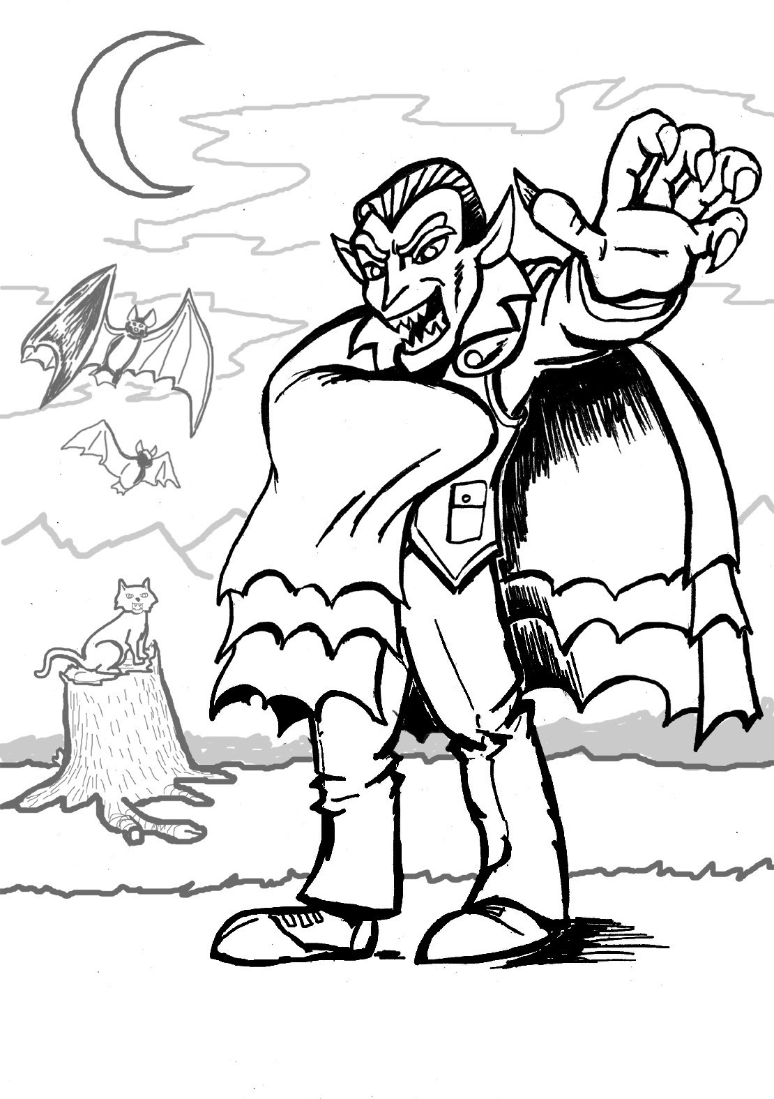 Printable Coloring Pages Kids  Free Printable Vampire Coloring Pages For Kids