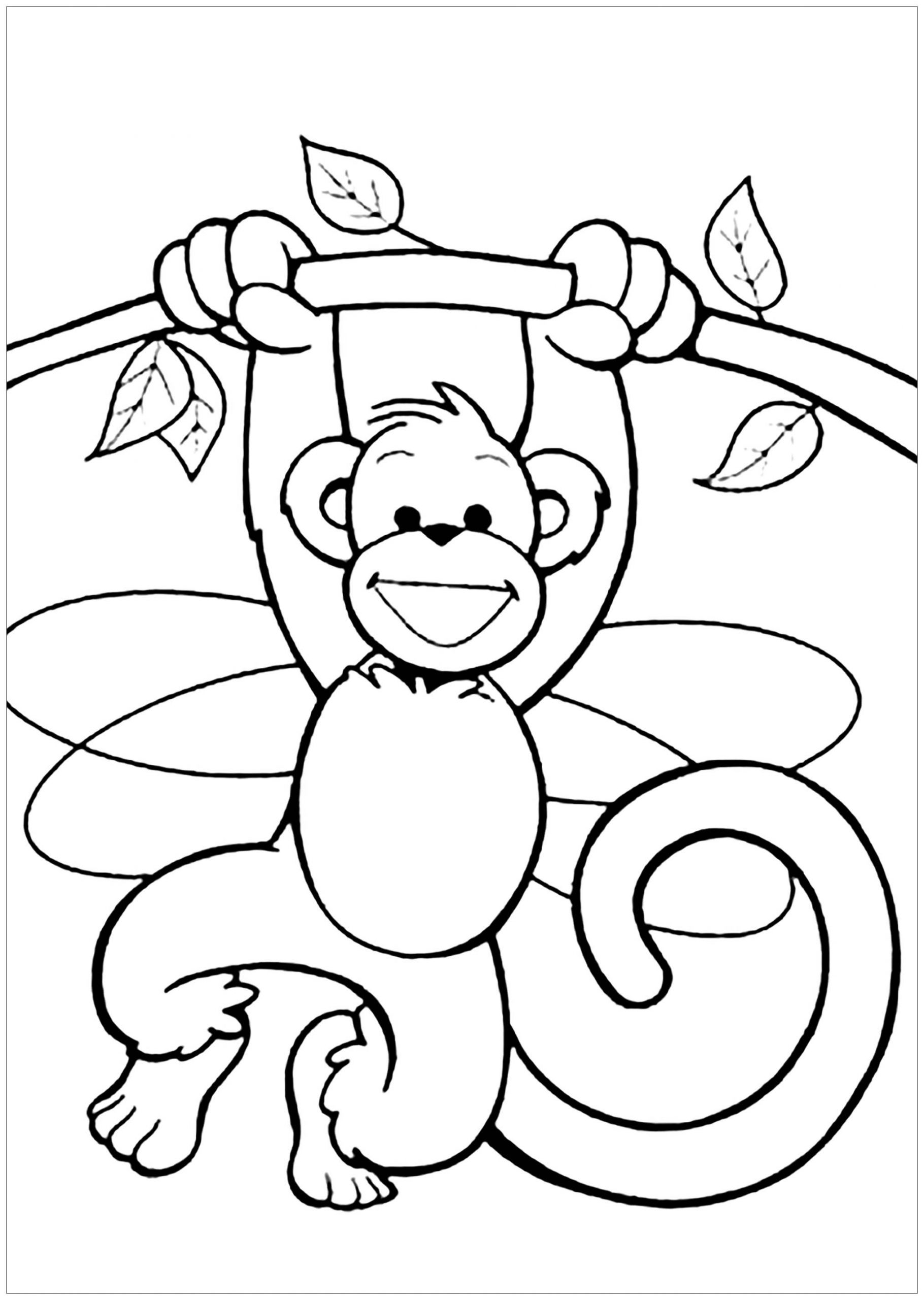 Printable Coloring Pages Kids  Monkeys to for free Monkeys Kids Coloring Pages