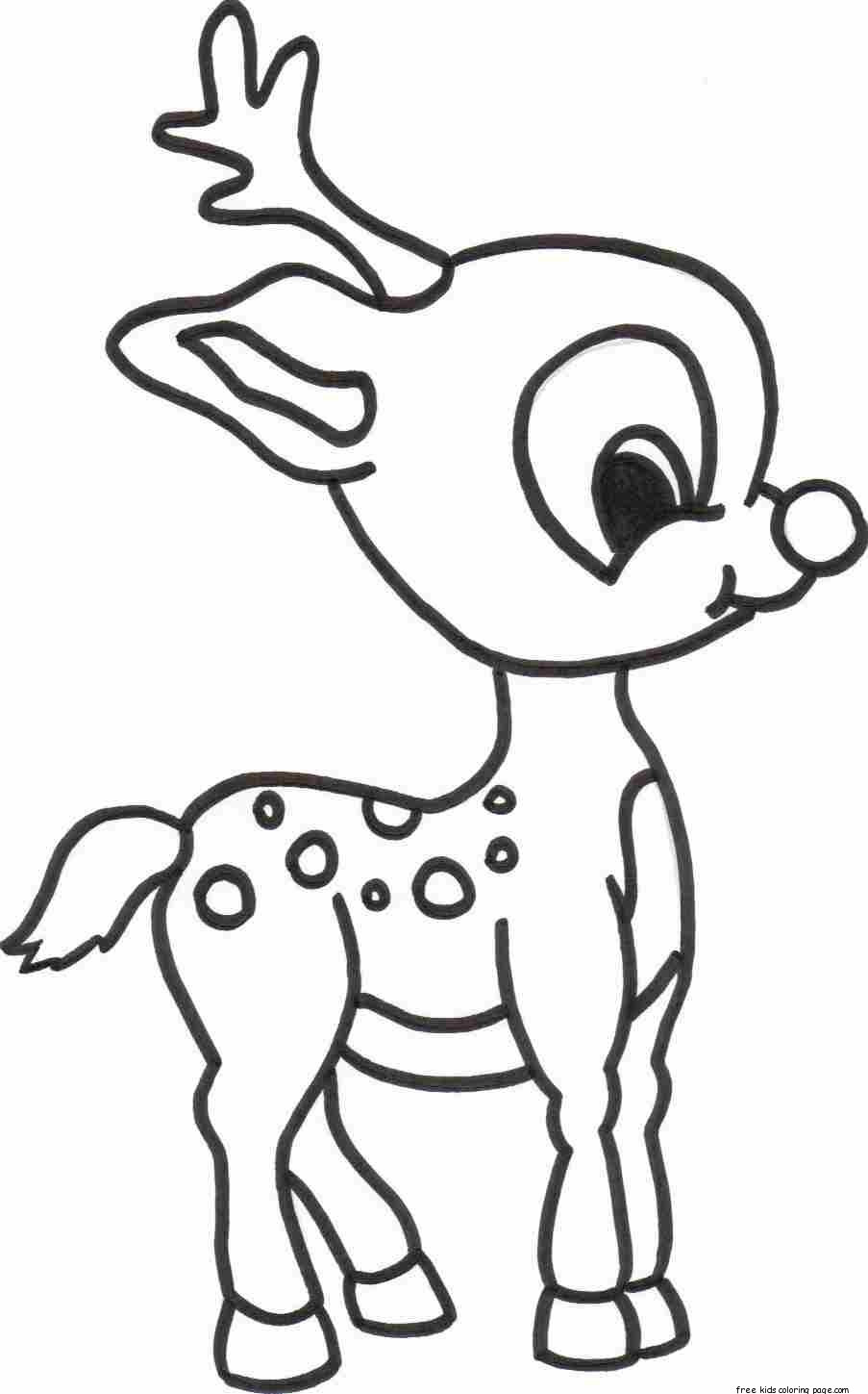 Printable Kids Coloring Pages  merry christmas baby romance reindeer coloring pagesFree