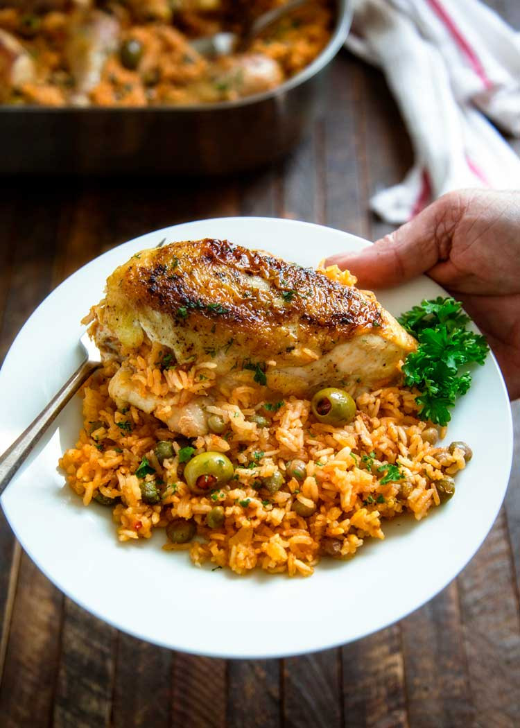 Puerto Rican Main Dishes  Baked Puerto Rican Chicken and Rice Arroz con Pollo