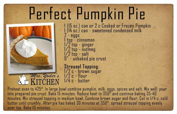 Pumpkin Pie Recipe With Sweetened Condensed Milk  Mrs Yoder s Kitchen Perfect Pumpkin Pie Recipe made