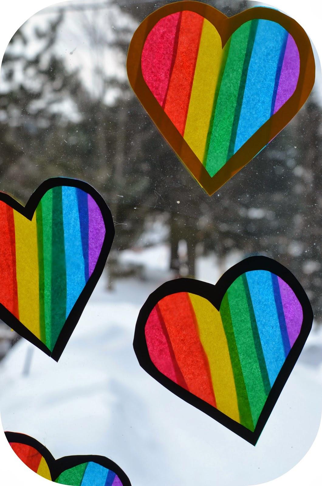 Rainbow Artwork For Preschoolers  Twig and Toadstool Rainbow Heart Transparencies
