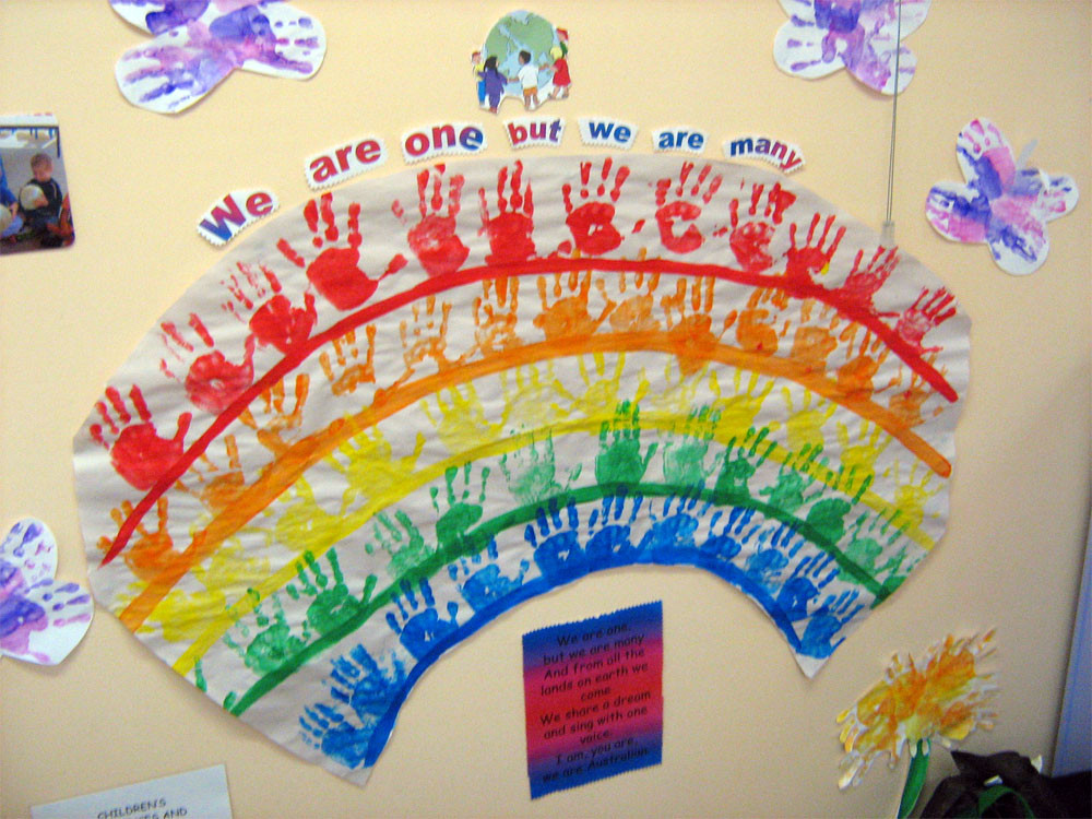 Rainbow Artwork For Preschoolers  Handprint Rainbow Lesson Plan Multicultural Art and Craft