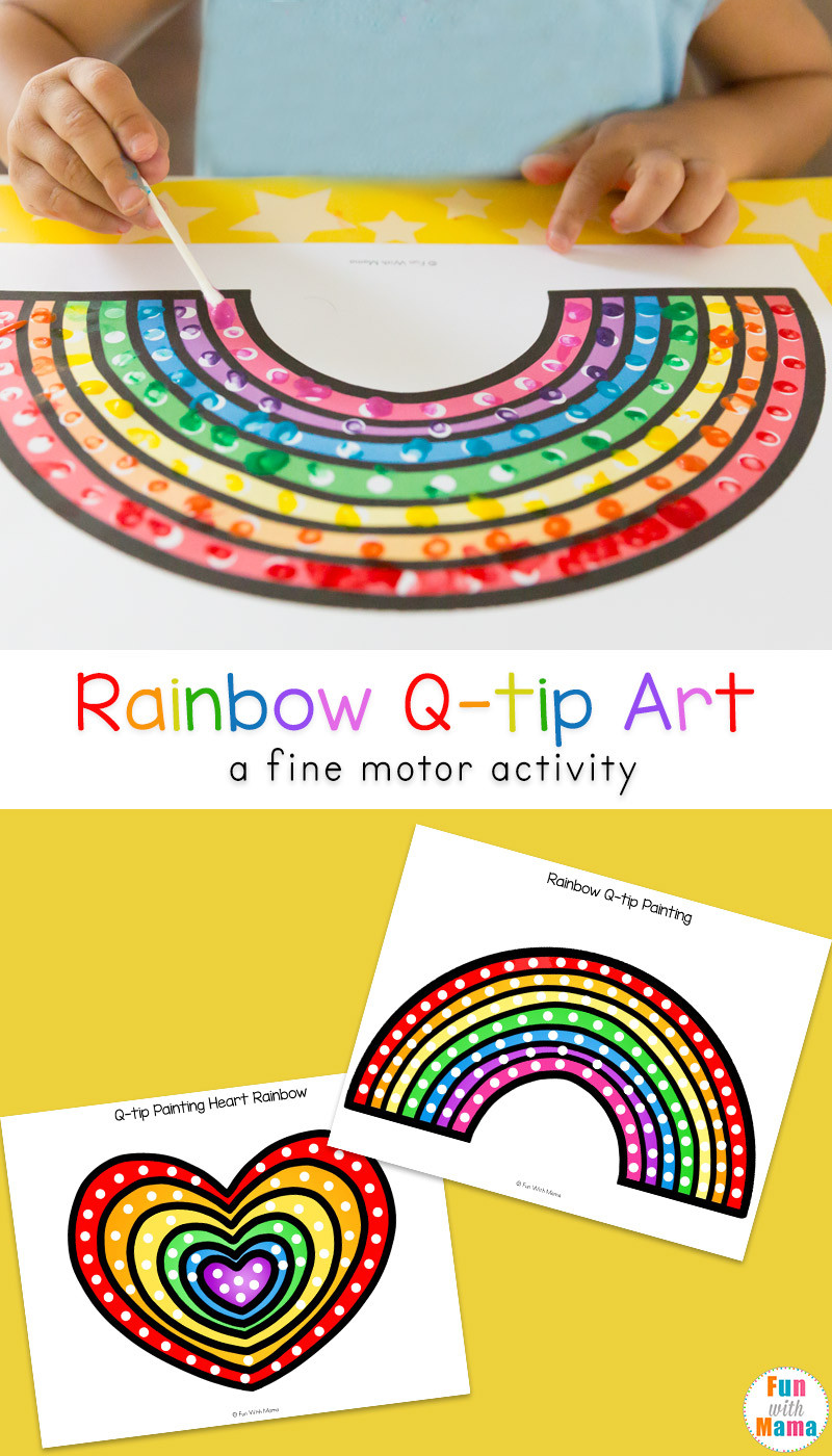 Rainbow Artwork For Preschoolers  q tip art rainbow crafts preschool Fun with Mama