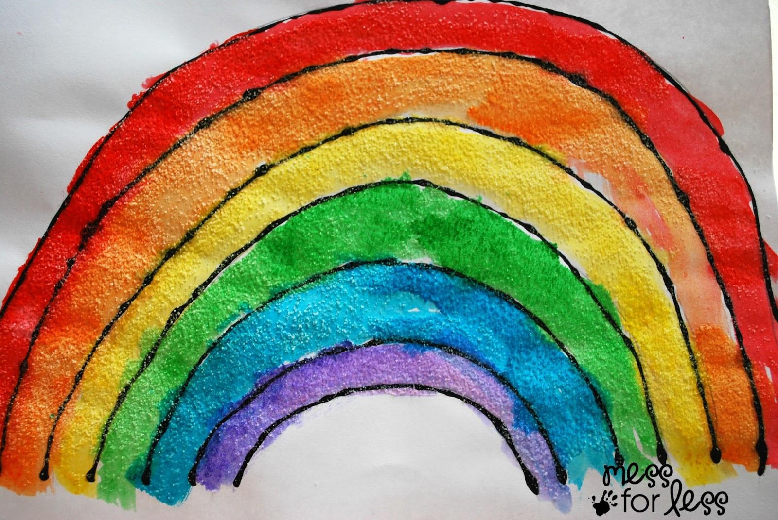Rainbow Artwork For Preschoolers  Black Glue and Salt Watercolor Rainbow Salt Painting for